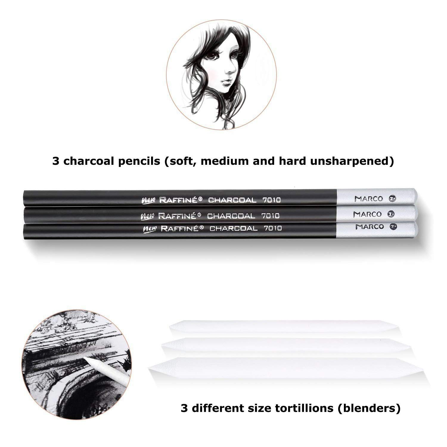Sketch Pencil Set,Morkia 18pcs Sketching Pencil with 3 Charcoal Pencil 2 Eraser 3 Paper Pens 1 Pencil Sharpener 1 Pencil Extender with Roll Up Canvas Carry Pouch Set Art Craft 29pcs in Total for Beginners Artist Student