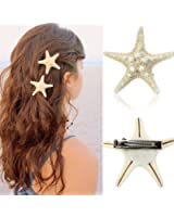 Canserin Fashion Women Lady Girls Pretty Natural Starfish Star Beige Hair Clip