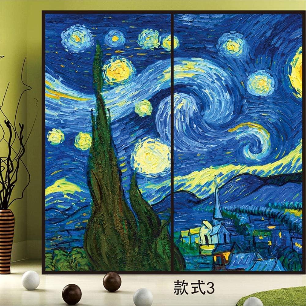 ALIANSHUO Pellicola per Vetri Glassata Statica Adesivo per Finestre Senza Colla Pellicola Decorativa Van Gogh Cielo Stellato per Ufficio Camera da Letto 70X70Cm 01