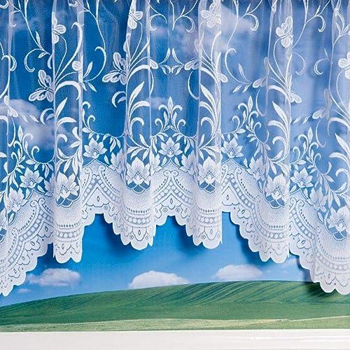 Mirabel Jardiniere Floral Butterfly Window Nett Sheer Curtain Panel with Rod Pocket Top – 200 Wide x 54 Drop – White