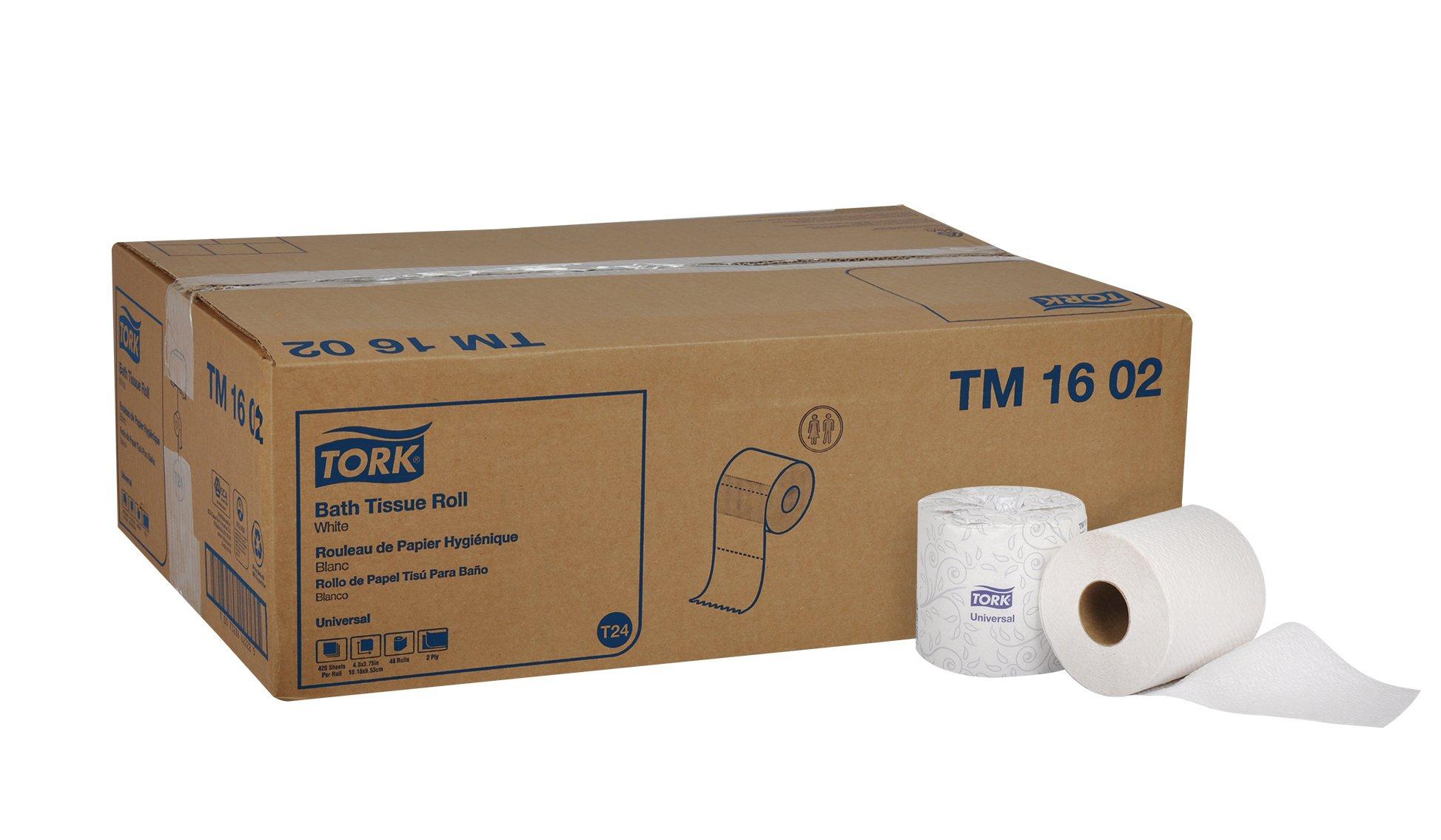 Tork Universal TM1602 Bath Tissue Roll, 2-Ply, 4'' Width x 3.75'' Length, White (Case of 48 Rolls, 420 per roll, 20,160 Sheets)