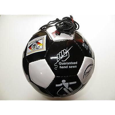 Mauzi–Ballon–Le–Bande de caoutchouc, la boule Fitness et d'entraînement en cuir Taille 5pour extérieur (Noir/Blanc)