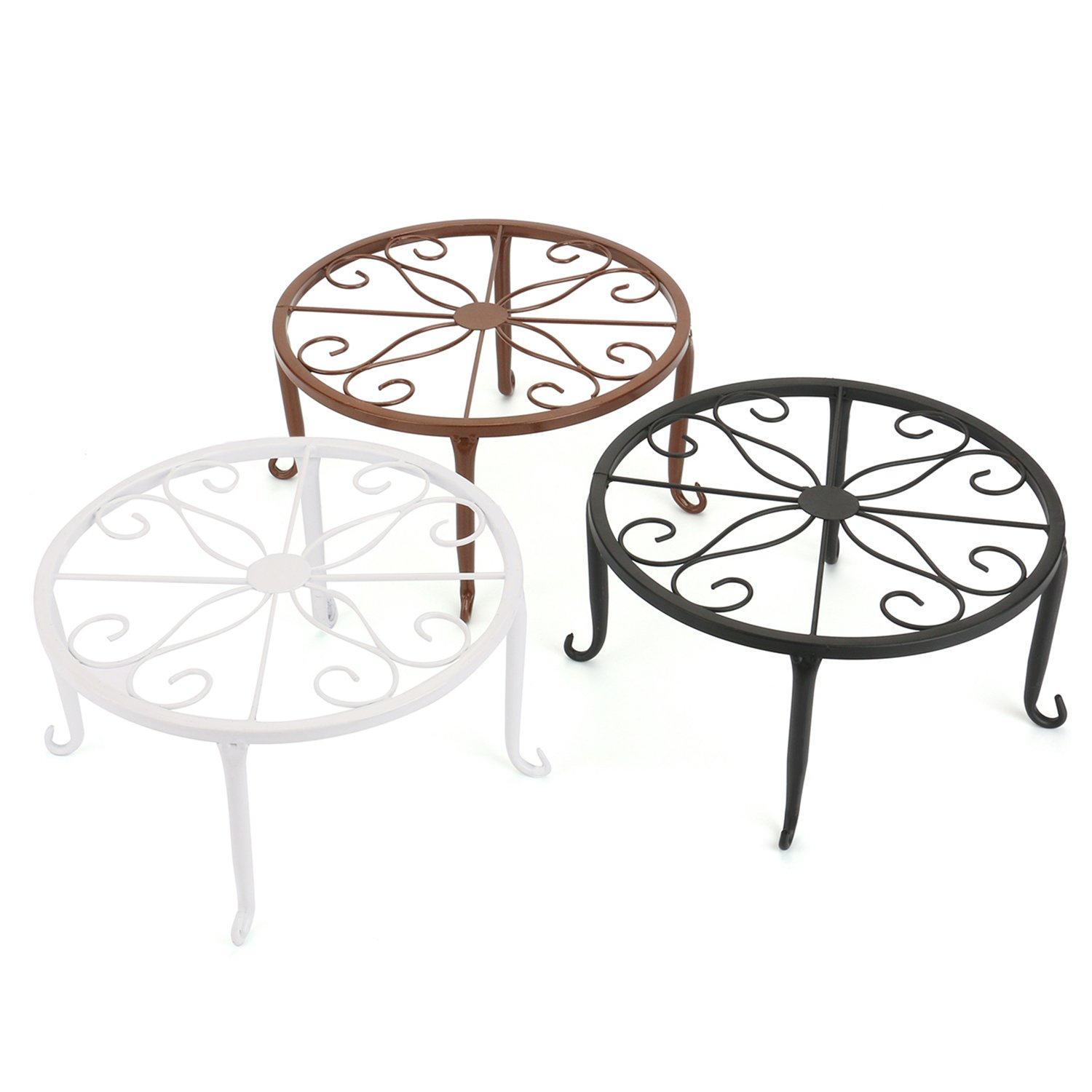 Tosnail Olde Metal/Iron Art Plant Stands Pot Holder, 9'', Pack of 3 Colors, White, Black & Brown