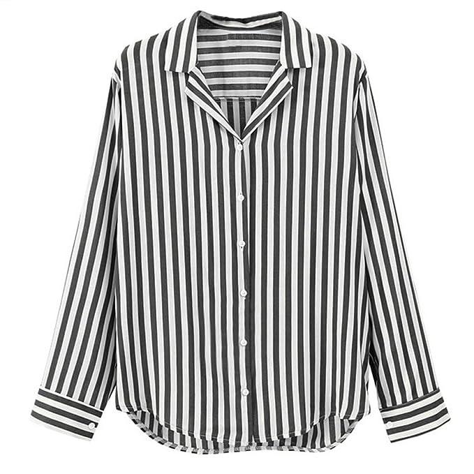Kinlene Mujeres Suelto Rayas Blusas Manga Larga Casual Camisas Tops Camisa: Amazon.es: Ropa y accesorios