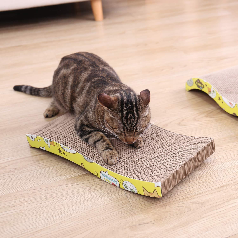 Ohana - Rascador para gatos, juego de 3 alfombrillas de cartón (incluye forma recta, en forma de S y forma de onda): Amazon.es: Productos para mascotas