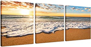 3Panels Canvas Wall Art for Home Decor Blue Sea Sunset Hanging Wall Art White Sky Blue Beach Sunrise PaintingThe Picture On Canvas Prints Seascape Ready to Hang Each Panel 12x16inch