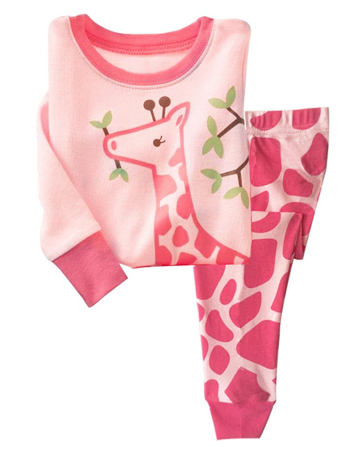 LitBud Girls Pajamas for Toddler Kids 100% Cotton Giraffe Nightwear Sleepwear Long Sleeve Pjs Set Size 2-3 Years 3T
