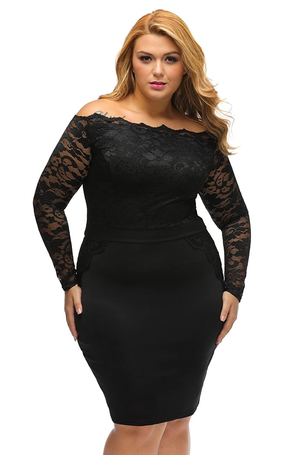 XAKALAKA Plus Size Long Sleeve Off Shoulder Lace Bodycon Cocktail Party Dress