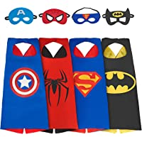 Dress Up Costume Set of Superhero 4 Satin Capes with Felt Masks For Kids