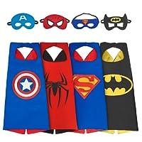 Dress Up Costume Set of Superhero 4 Satin Capes with Felt Masks For Kids