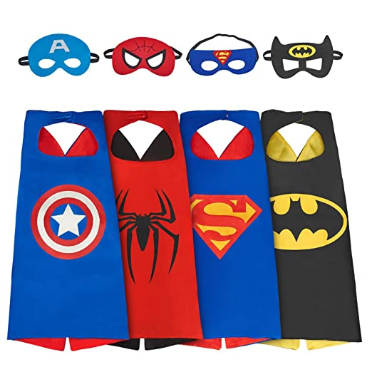 amasky Superhero Costume Dress up Costumes Set of Superhero Satin Capes with Felt Masks for  sc 1 st  Amazon.com & Amazon.com: amasky Superhero Costume Dress up Costumes Set of ...