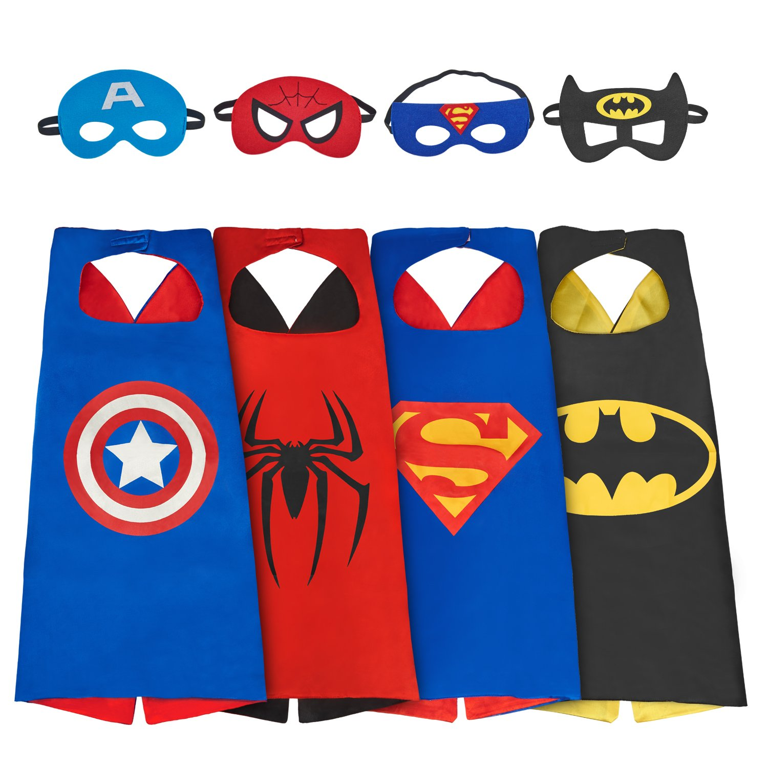 Babylian Dress up Costume Set of Superhero 4 Satin Capes with Felt Masks for Kids (4 Pack)