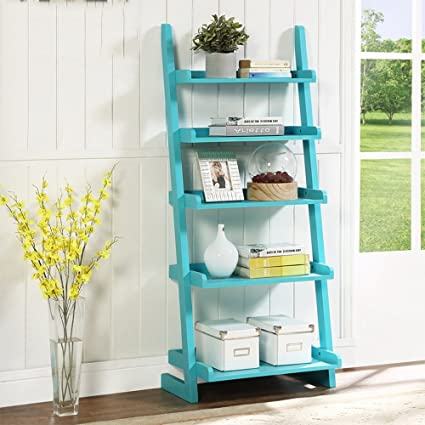 Shelves MEIDUO Bookshelf Ladder Bookcase 5 Tire Wood Leaning Shelf For Home Office Modern Flower