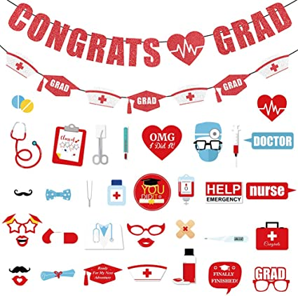 Amazon Com Pratyus Nurse Graduation Party Decorations With Congrats Banner Nurse Banner And Photo Booth Props Red And Blue Nursing Grad Party Supplies For Medical Nurse High School College Toys Games
