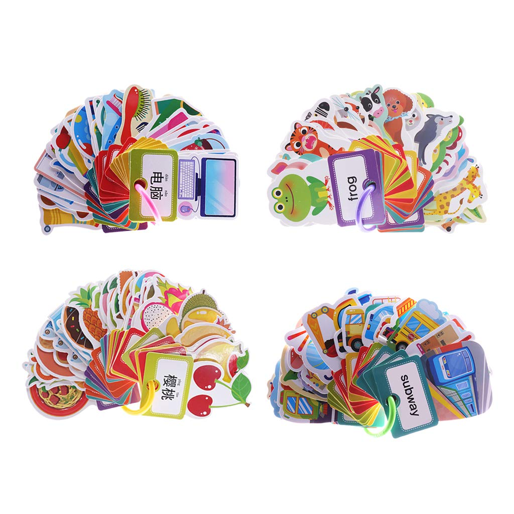 Fityle 4 Set(120Pcs) Flash Cards with Pictures for Preschool Learning with One Storage Ring