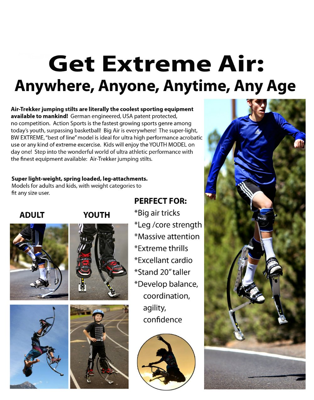 KIDS JUMPING STILTS by AIR TREKKERS Spring Loaded JUMP SHOES are Cool Gifts for Kids Ages 8-12 Develop Valuable Athletic Motor Skills! BOUNCE SHOES FOR KIDS with PROTECTION PADS and Cloth KNEE SUPPORT by Air-Trekkers (Image #5)
