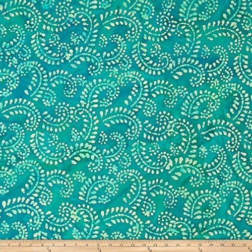 Indian Batik Hollow Ridge Scroll Vine Teal/Natural Fabric By The Yard