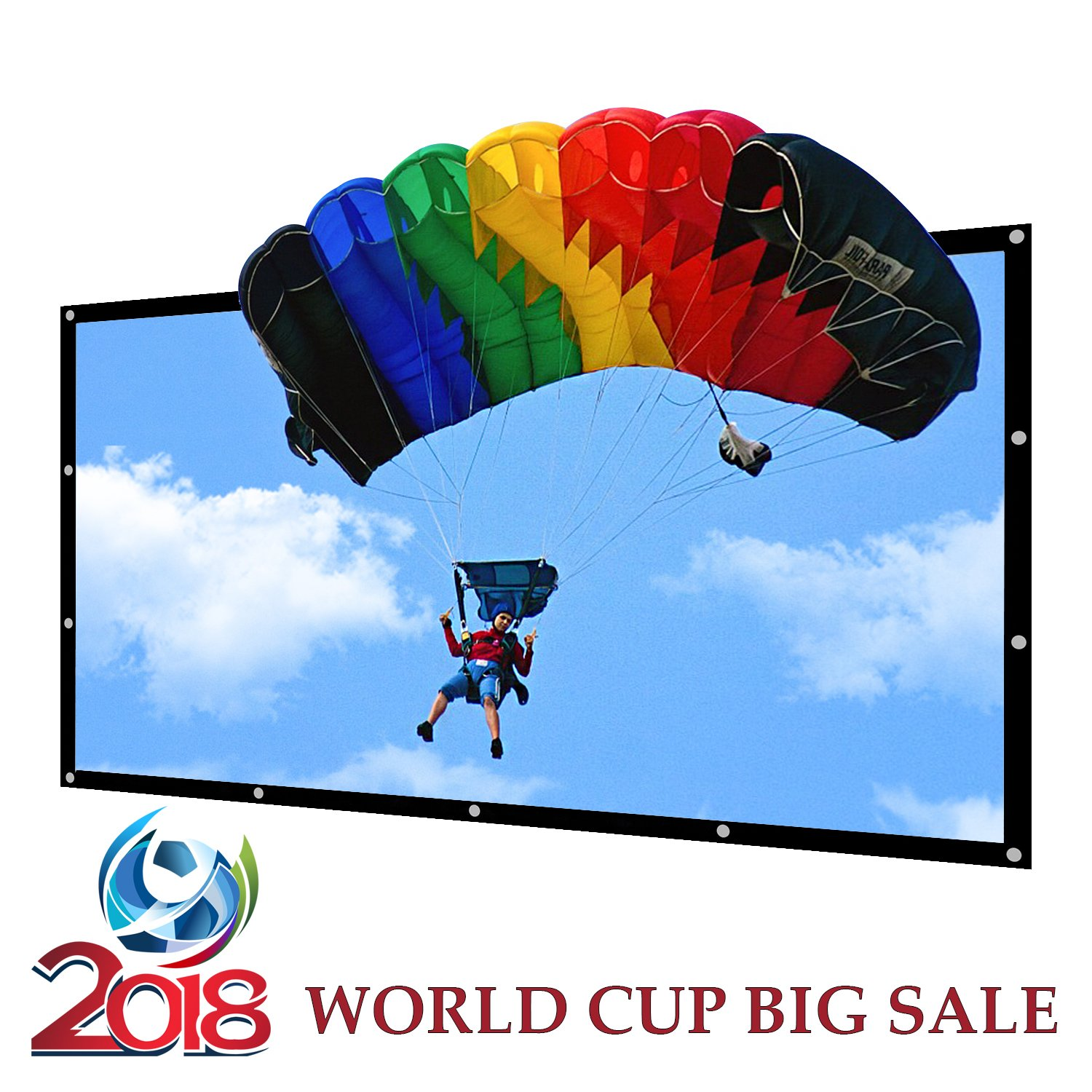 Portable Projector Screen Indoor Outdoor Lightweight Folding Movies Screen Wrinkle Free 120 inch HD Projection Screen 3D Rear Front