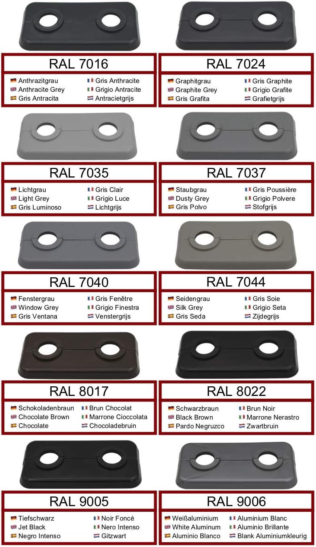 Lot de 2 rosaces de radiateur double pour tuyaux de chauffage 16 mm 15 mm chauffage 2 pi/èces gris 21,3 mm marron et noir polypropyl/ène de couleur sp/éciale 18 mm