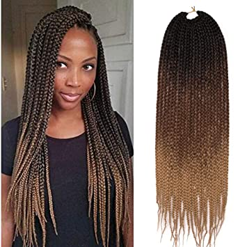Geyashi Hair 24 Inch 1pack Lot 100g Pack Honey Blonde 3s Senegalese Twist Box Braids Crochet Pre Looped High Temperature Fiber Brading Hair Extentions