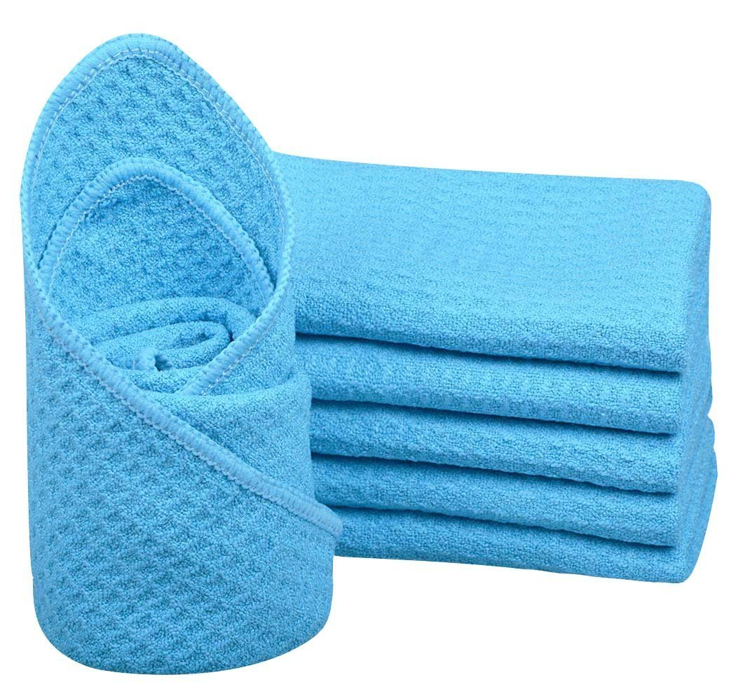 Sinland Microfiber Face Cloths Washcloth Waffle Weave Facial Cleansing Towels Body Bath Hand 6 Pack 13 Inch X 13 Inch White (Green)
