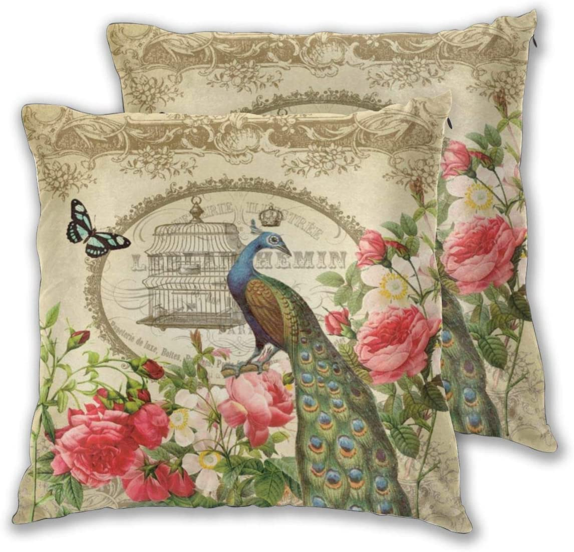 Nonebrand Throw Pillow Covers,Vintage French Shabby Chic Peacock Decorative Pillowcase Double Side Print Cushion Covers for Sofa Couch Bed 18x18 Inches,Set of 2