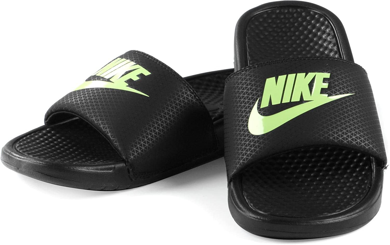 08757b84d516 NIKE Benassi Just Do It Mens Flip Flop Slip On Sandals Black Lime 343880  014 (11UK   46EU)  Amazon.co.uk  Shoes   Bags