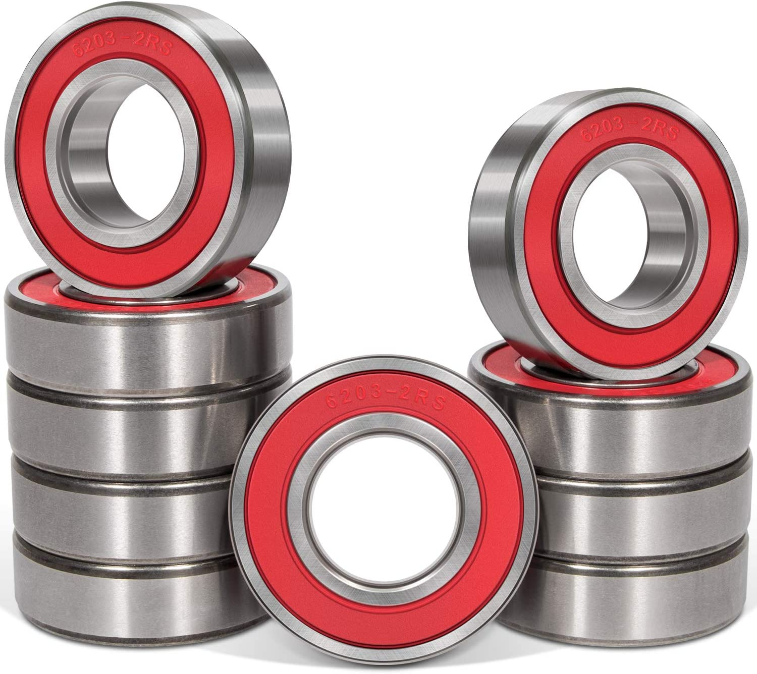 10 Pcs 6203-2RS Ball Bearings (17x40x12mm) Double Rubber Red Seal Bearing, Deep Groove for Garden Machinery,Electric Toys and Tool, etc.