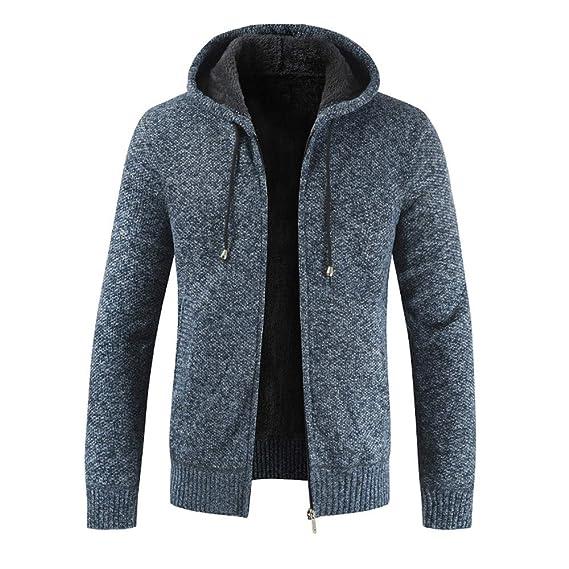 Xmiral Herren Stricken Jacke Mantel Lässige Zipper Kordelzug Hoodie Outwear Pullover