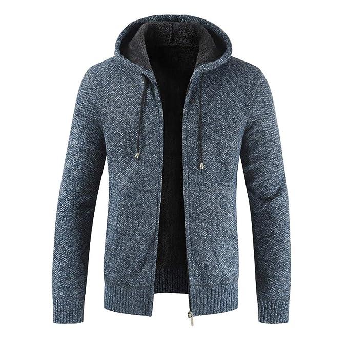 Casual De Los Hombres Otoño Invierno Cremallera De Lana con Capucha Outwear Tops Suéter Blusa Abrigo
