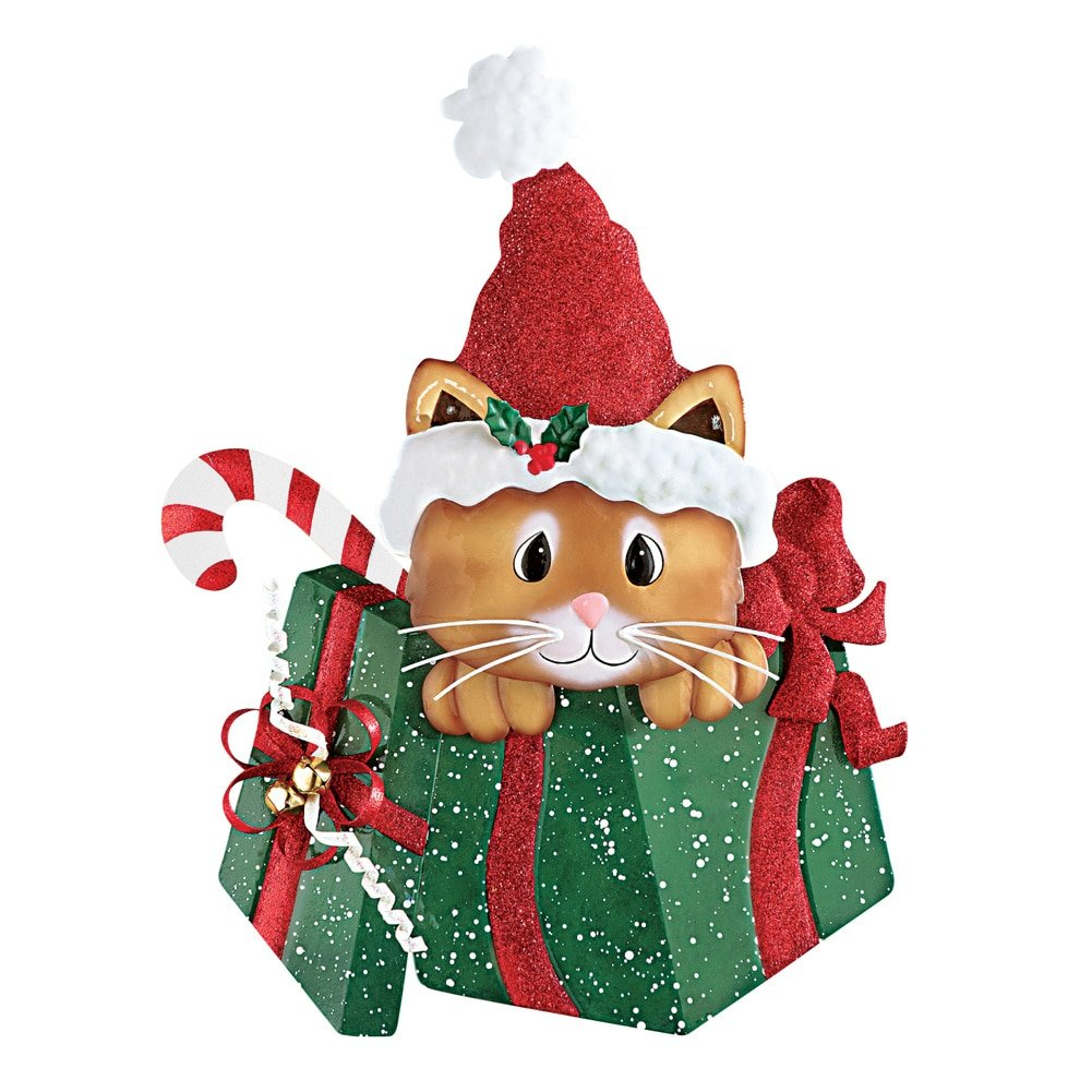Amazon.com : Christmas Gift Box Cat Wall Decor : Patio, Lawn & Garden