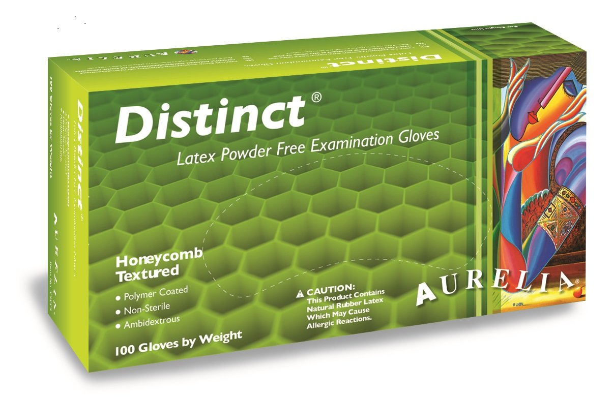 Aurelia Distinct Latex Glove, Powder Free, 9.4'' Length, 5 mils Thick, X-Large (Pack of 1000)