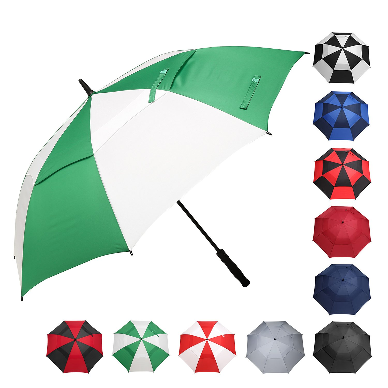 BAGAIL Golf Umbrella 68/62/58 Inch Large Oversize Double Canopy Vented Windproof Waterproof Automatic Open Stick Umbrellas for Men and Women (Double Green White, 58 inch) by BAGAIL