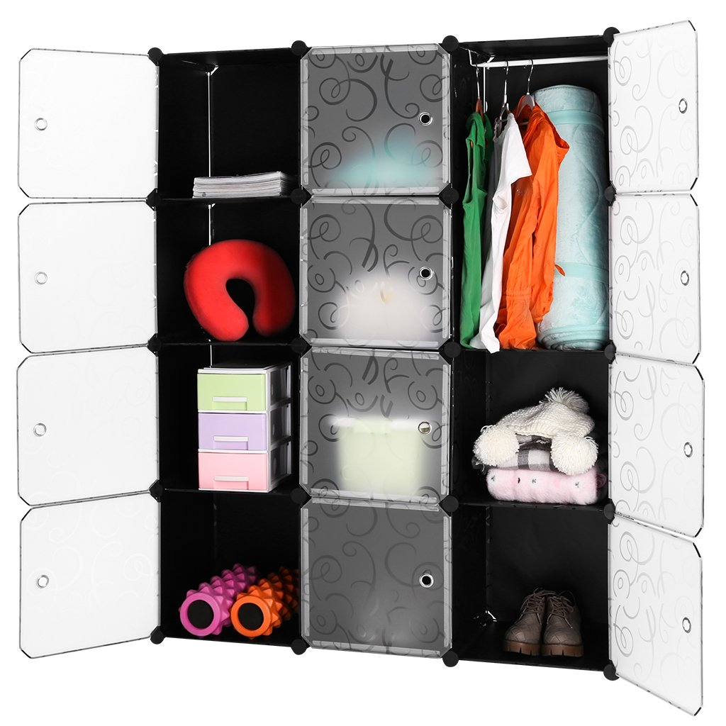 LANGRIA Interlocking Plastic Wardrobe Cabinet Opaque Curly Patterned Design 12-Cube Storage with Translucent Striped Doors for Personal Items, Clothes, Shoes, 111 x 37 x 147cm, Black and White