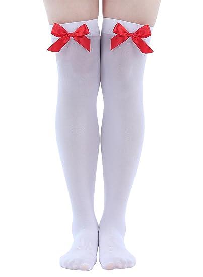 b6e26605f Amazon.com  YChoice 1 Pair White Socks + Red Bow Stockings Knee Socks Bow  Stockings  Clothing