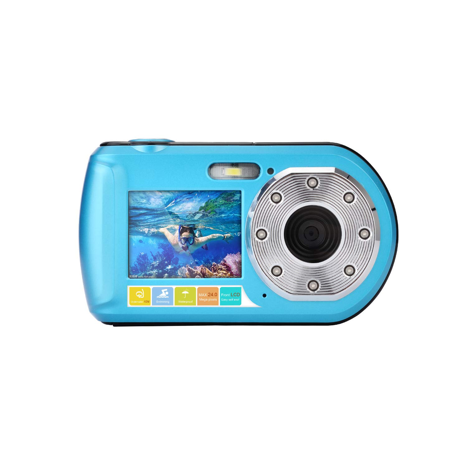 Underwater Camera Diving 10M Full HD 1080P Waterproof Camera for Snorkeling Selfie Dual Screen Action Camera 24MP Video Recorder Digital Camera by GordVE