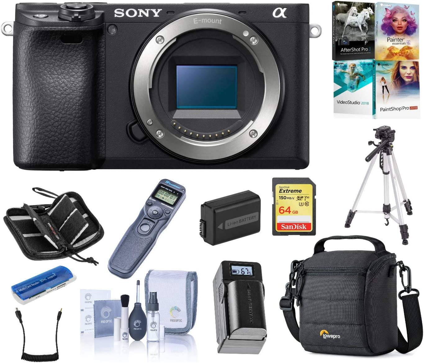 Sony Alpha a6400 Mirrorless Digital Camera Body, Bundle with Cam Bag + Battery + Remote Shutter Trigger + 64GB SD Card + Tripod + Charger + SD Card Case + Corel PC Software Kit + Cleaning Kit + More