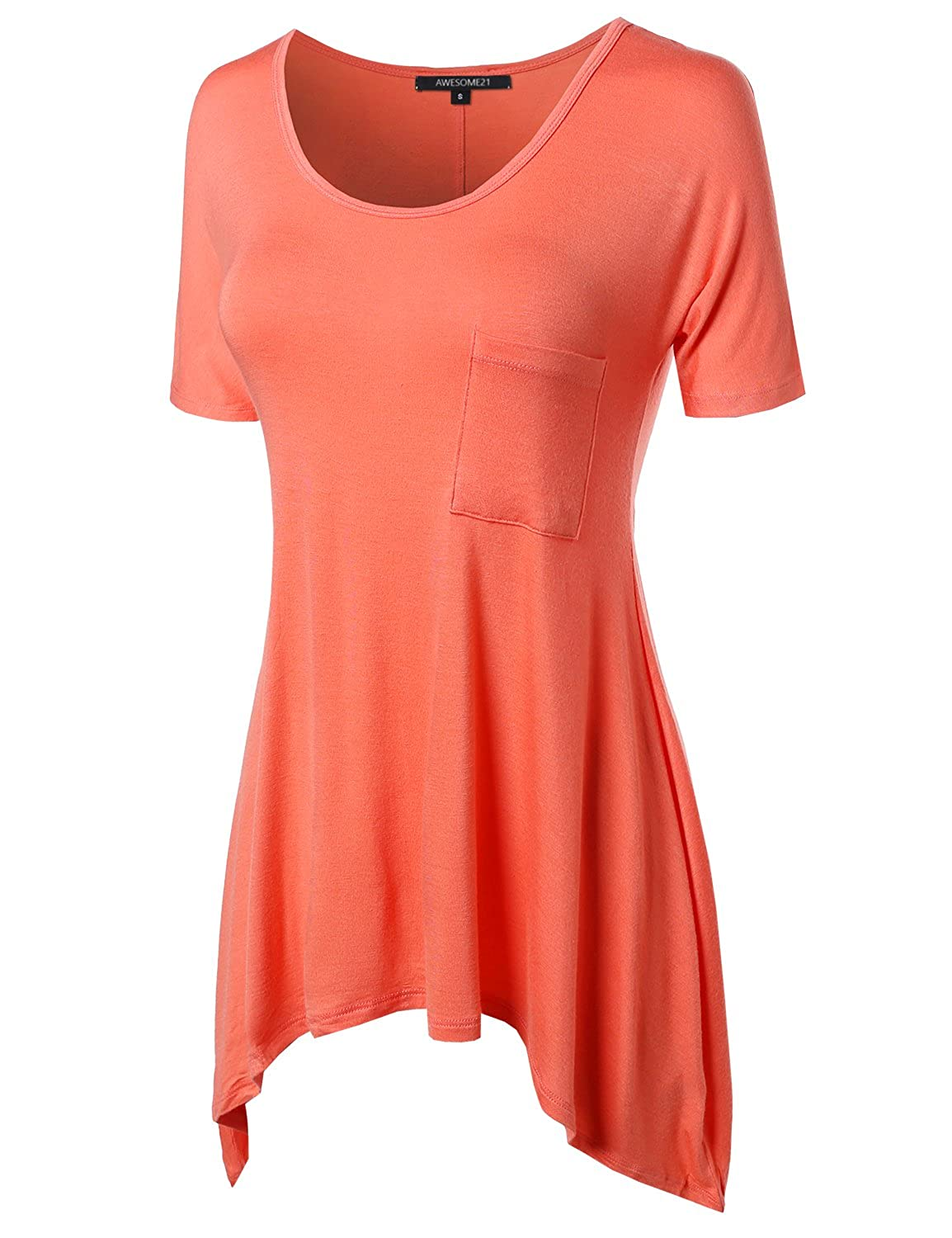 5fcdec18e32ab7 Awesome21 Women s Short Sleeve Solid Various Hem Top With Pocket at Amazon  Women s Clothing store