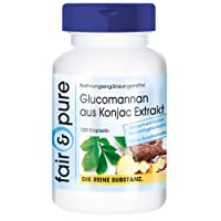Glucomannano 500mg dal estratto di radice di Konjac - 120 capsule - Fibra solubile - vegano - proprietà dimagranti, per la cura della stitichezza, importante per i livelli di zucchero nel sangue - senza eccipienti/additivi