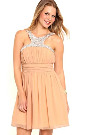 Deb Junior Short Prom Dress with Stone Trim Racer Front Neckline Peach 13