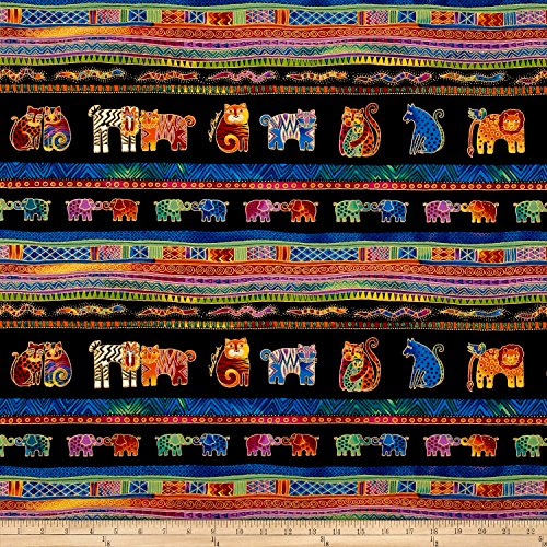 Stripe Quilt Fabric - Laurel Burch Border Stripe Quilt Fabric, Mythical Jungle Animals, by The Yard