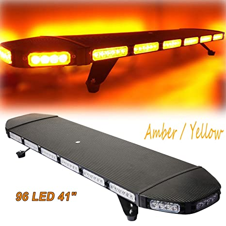 Hotstore 41 96 Amber Emergency Warning Security Strobe Lights For Trucks Professional Extreme High Intensity Low Profile Roof Top Light Bar For Snow