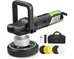Ginour Polisher, 900W 6-inch Variable Speed Dual-Action Random Orbit Car Buffer Polisher with D-Handle & Side Handle, 6400RPM