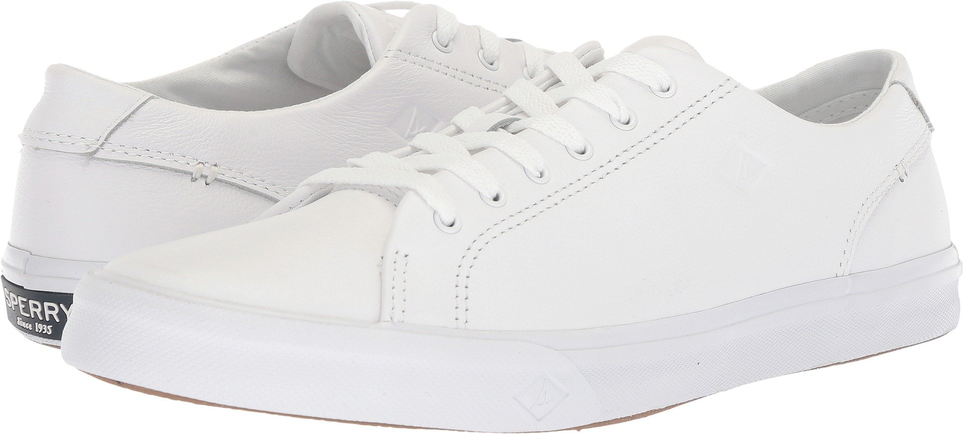 Sperry Mens Striper II LTT Leather Sneaker, White, 10