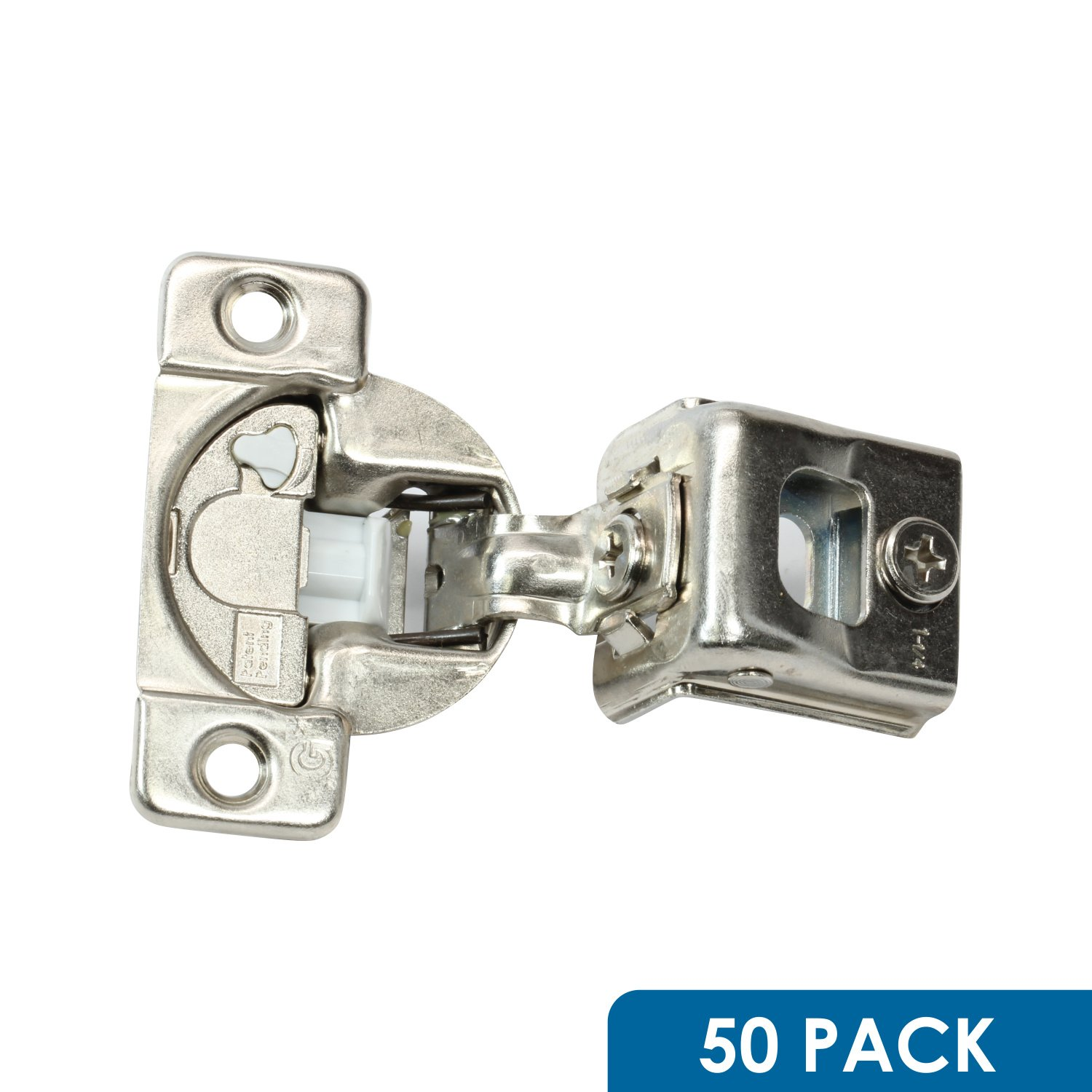 50 Pack Rok Hardware Grass TEC 864 108 Degree 1-1/4'' Overlay 3 Level Soft Close Screw On Compact Cabinet Hinge 04547A-15 3-Way Adjustment 45mm Boring Pattern