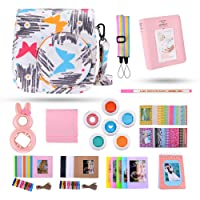 Kaka 13 in 1 Instax Mini 9 Camera Accessories for FujiFilm Instax Mini 9 8 8+ Camera with Mini 9 Case/Album/Selfie Lens/Filters/Wall Hang Frames/Film Frames/Border Stickers/Pen(Colorful Forest)