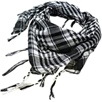 Flyme Black & White Desert Shemagh Scarf Keffiyeh Lightweight Cotton Military Style Airsoft Re-Enactment Army