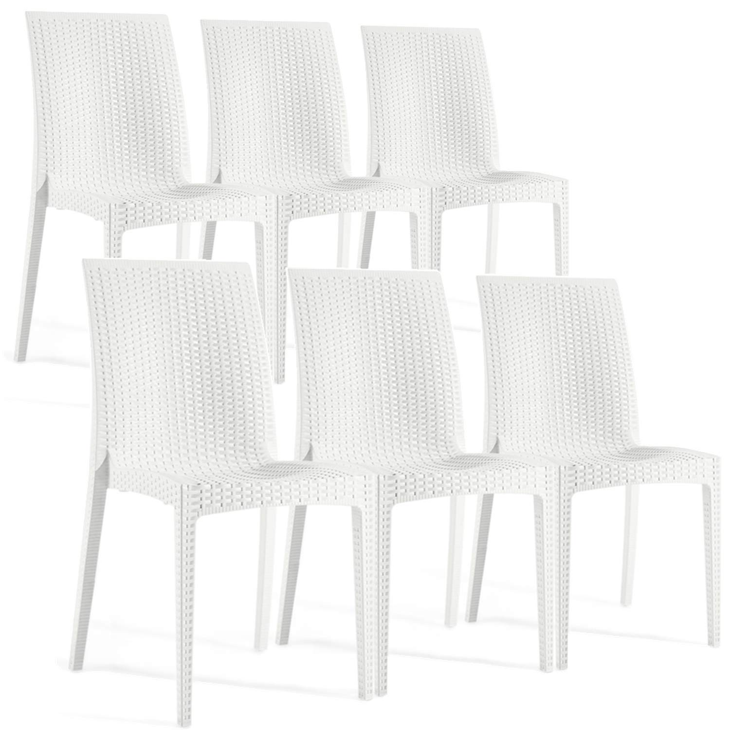 Furgle Patio Dining Chairs,Set of 6 Outdoor PE Rattan Wicker White Chairs UV-Resistant Balcony Chairs for Beach, Backyard, Porch, Garden, Poolside,Lawn 6 PCS Chairs