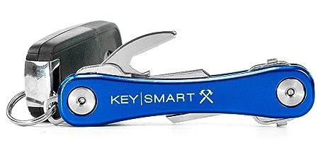 KeySmart Rugged | Llavero multi-herramienta con abridor y clip de bolsillo (2-14 llaves, azul)