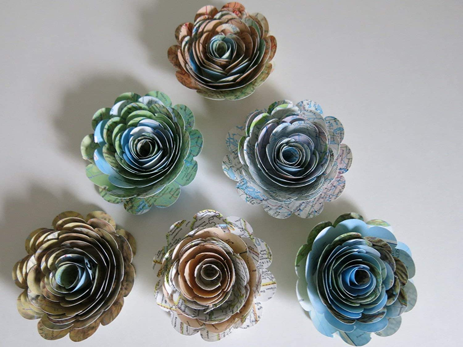 Wedding Shower 3 Inch Blooms Set of 6 Atlas Book Page Roses World Travel Theme Party Decorations Time Traveler Steampunk Birthday Party